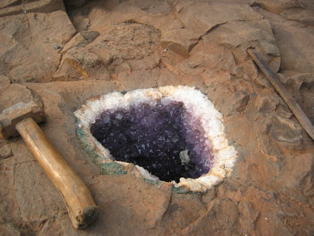 amethyst geode in parent rock