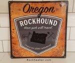 vintage distressed metal rockhounding sign