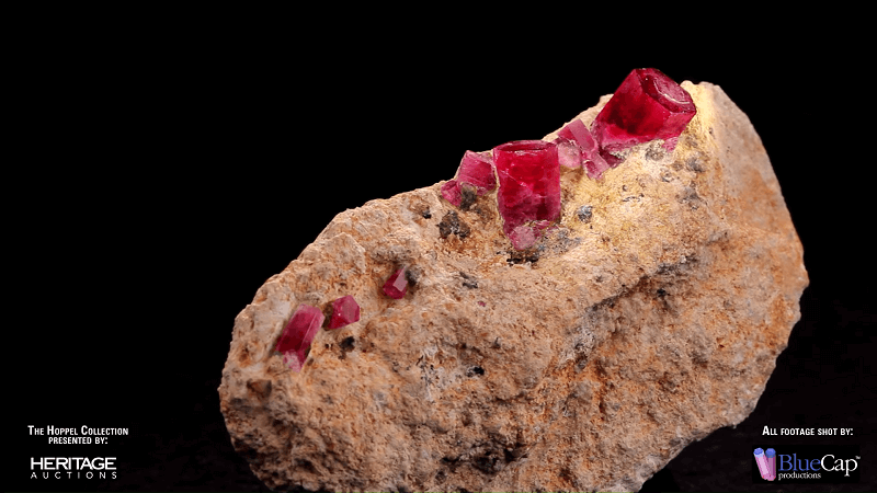 red beryl gemstone crystals